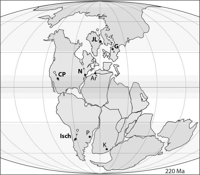 Il y a 215 millions d'années, les dinosaures ont parcouru 10.000km depuis l'Amérique du Sud (« Isch » et « P ») vers le Groenland (« JL ») © Dennis Kent et Lars Clemmensen