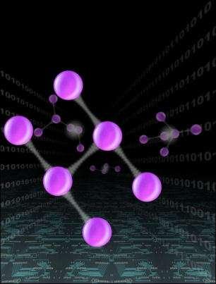 Représentation d'artiste d'un état intriqué avec 6 photons