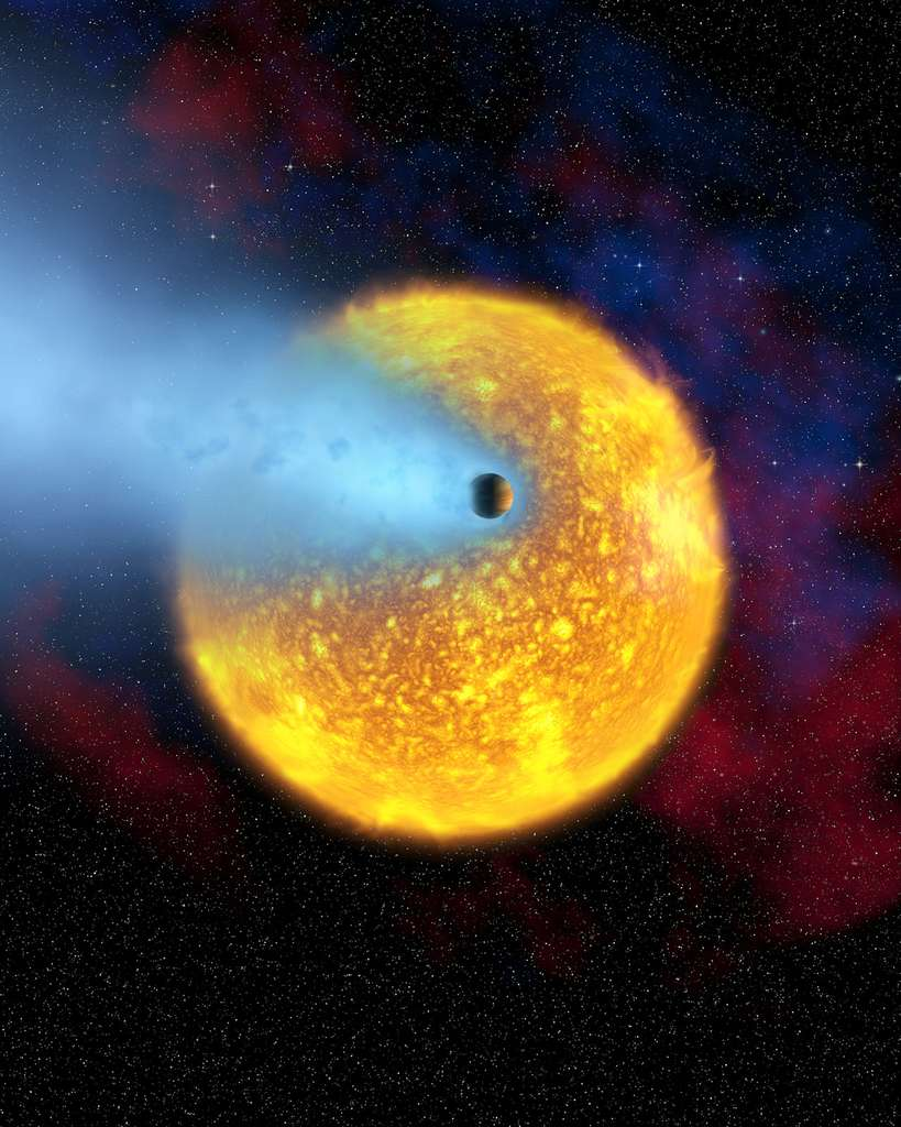 Sur cette image d'artiste, on voit l'exoplanète géante Osiris en train de s'évaporer. L'un de ses découvreurs, Alfred Vidal-Madjar avait prédit avec des collègues que des coeurs rocheux provenant de telles exoplanètes, ayant fini de perdre leur enveloppe gazeuse, seraient un jour découverts. Les chercheurs avaient nommé ces cœurs des « planètes chthoniennes ». © European Space Agency, Alfred Vidal-Madjar