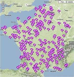 Les manifestations en France continentale, indiquées sur le site de l'AFA. Cliquer sur l'image pour en savoir plus. © Association française d'astronomie
