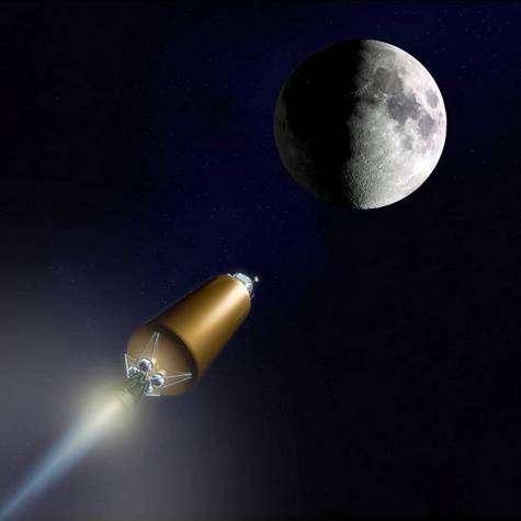 """Le """"train spatial"""" LCROSS en route vers la Lune."""