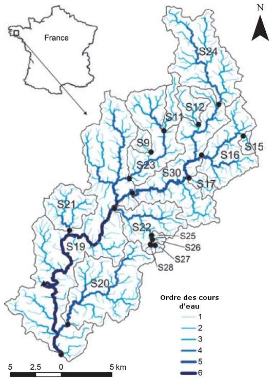 Position du bassin du Scorff par rapport à la France. Les différents sous-bassins sont entourés d'une ligne grise. L'ordre des cours d'eau (selon Strahler) est représenté grâce aux couleurs. Les points noirs correspondent aux lieux de prélèvements. Ils sont situés à la frontière entre deux sous-bassins différents. © Adapté de Montreuil et al. 2012
