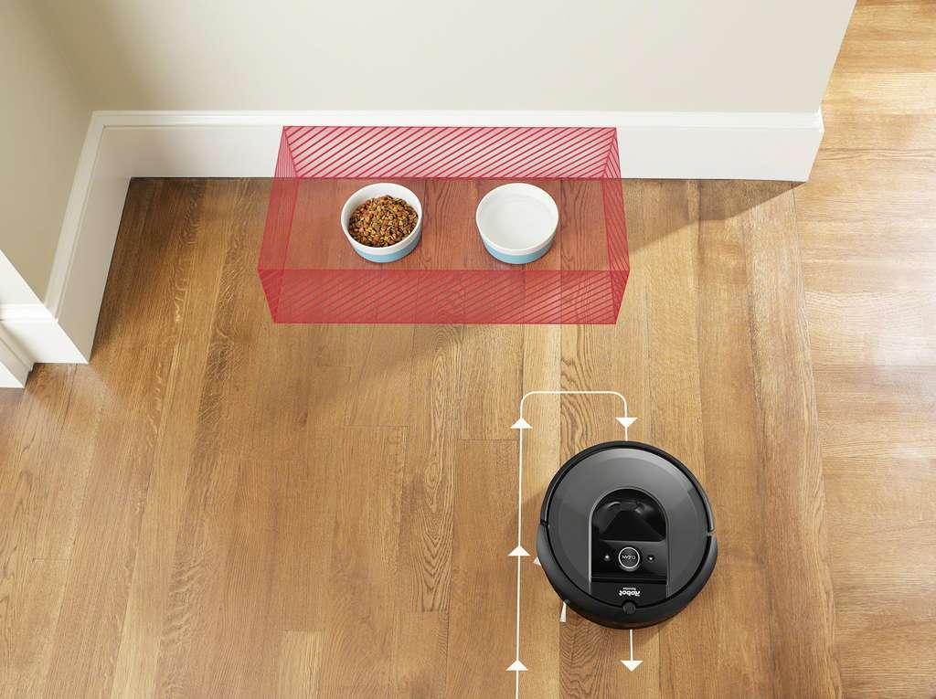 On peut indiquer au robot-aspirateur de ne pas s'approcher de la gamelle d'eau pour le chat et le chien. © iRobot