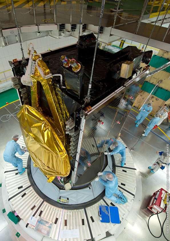 Arsat-1, le premier satellite géostationnaire (évoluant donc à 36.000 km) construit par l'Argentine. © Esa, Cnes, Arianespace, service optique CSG