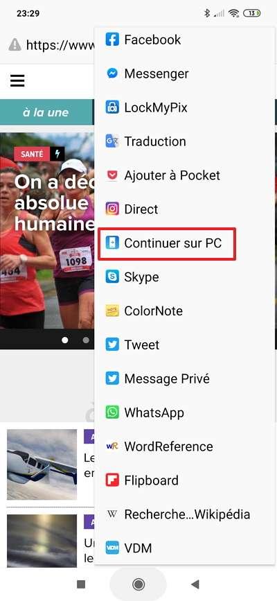Essayez d'afficher sur votre PC la page web ouverte sur le navigateur de votre smartphone grâce à la fonction « Partager ». © Microsoft