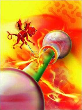 Illustration du démon de Maxwell avec une molécule de rotaxane ( Crédit : Peter Macdonald – Edmonds UK)