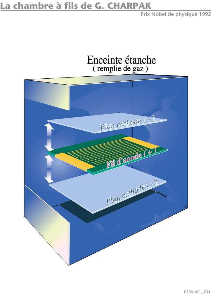 Le principe de la chambre proportionnelle multifils est illustré sur ce schéma et le suivant. La distance entre les fils d'anode est d'environ 2 millimètres et la distance entre les plans de cathode d'environ 2 centimètres. © Jean-Luc Caron, Cern