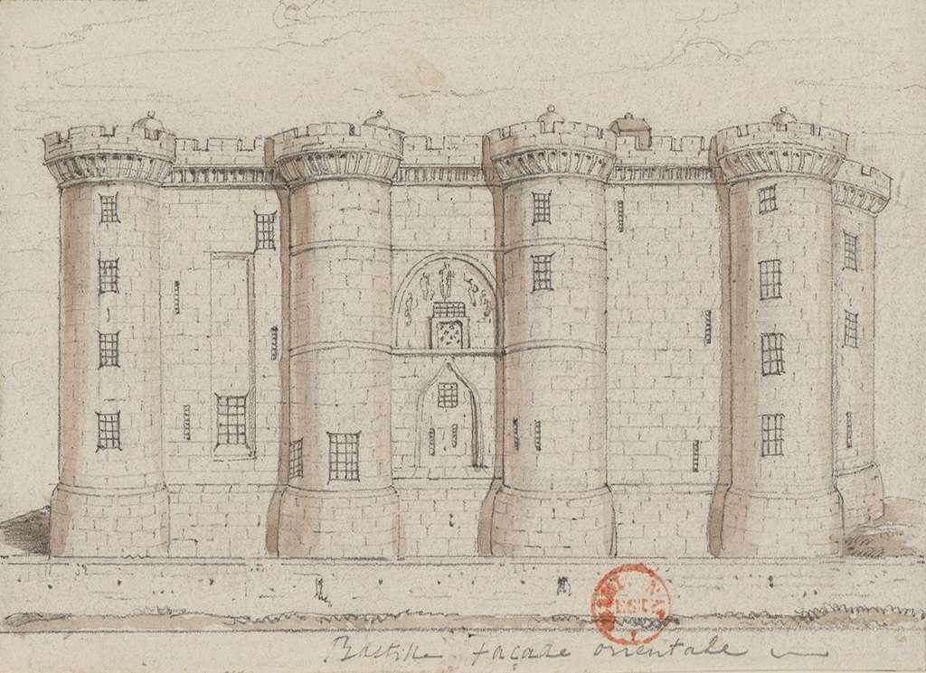 La Bastille, façade orientale, dessin édité en 1790, anonyme. Bibliothèque nationale de France. © gallica.bnf.fr / BnF.