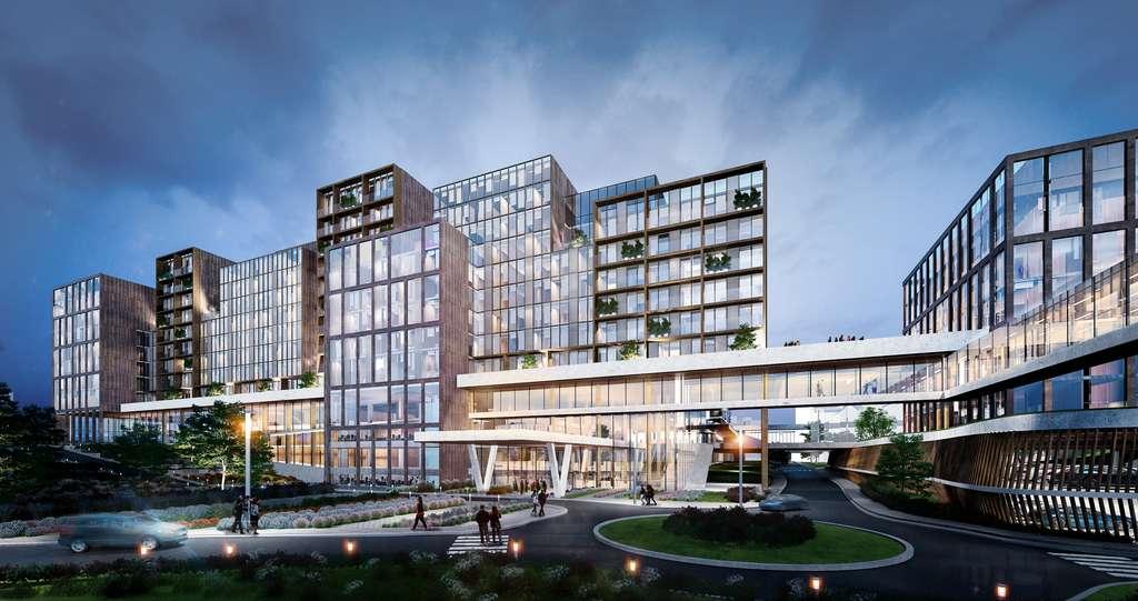 Le futur projet « Hospitacité » imaginé par les bureaux d'architectes VK Architects & Engineers et Michel Rémon & Associés. Le projet devrait sortir de terre en 2025. © VK Architects & Engineers et Michel Rémon & Associés