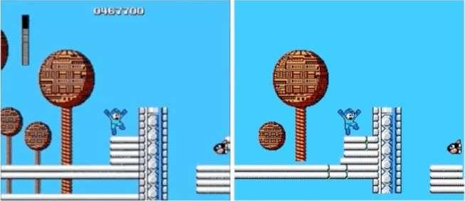 À gauche, une image de la version officielle du jeu Mega Man. À droite, la copie créée par l'IA du Georgia Tech, qui est plutôt correcte, exceptés quelques bugs visuels. © Georgia Tech