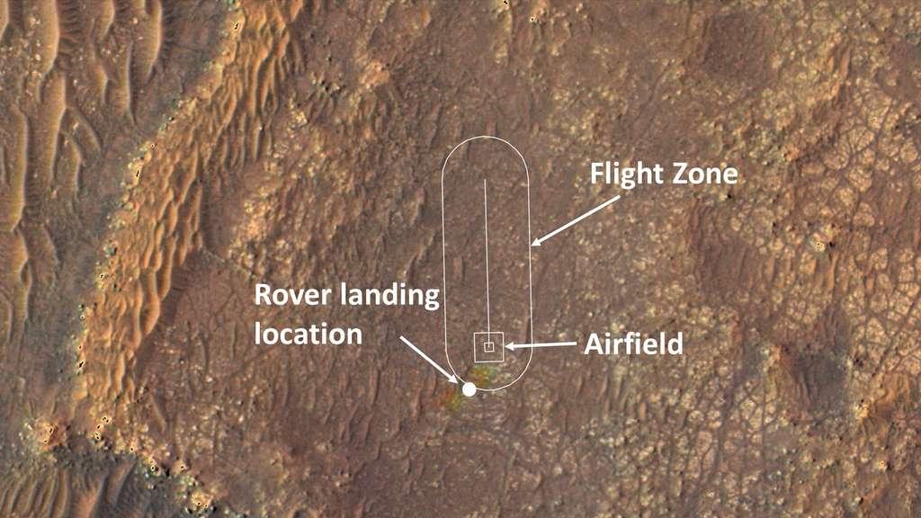 « L'aérodrome » martien d'où décollera et évoluera Ingenuity. Ce site, baptisé Van Zyl Overlook, a été choisi pour sa planéité et son absence d'obstacles. Cette parcelle mesure 10 mètres sur 10 mètres. © Nasa, JPL-Caltech, Université de l'Arizona
