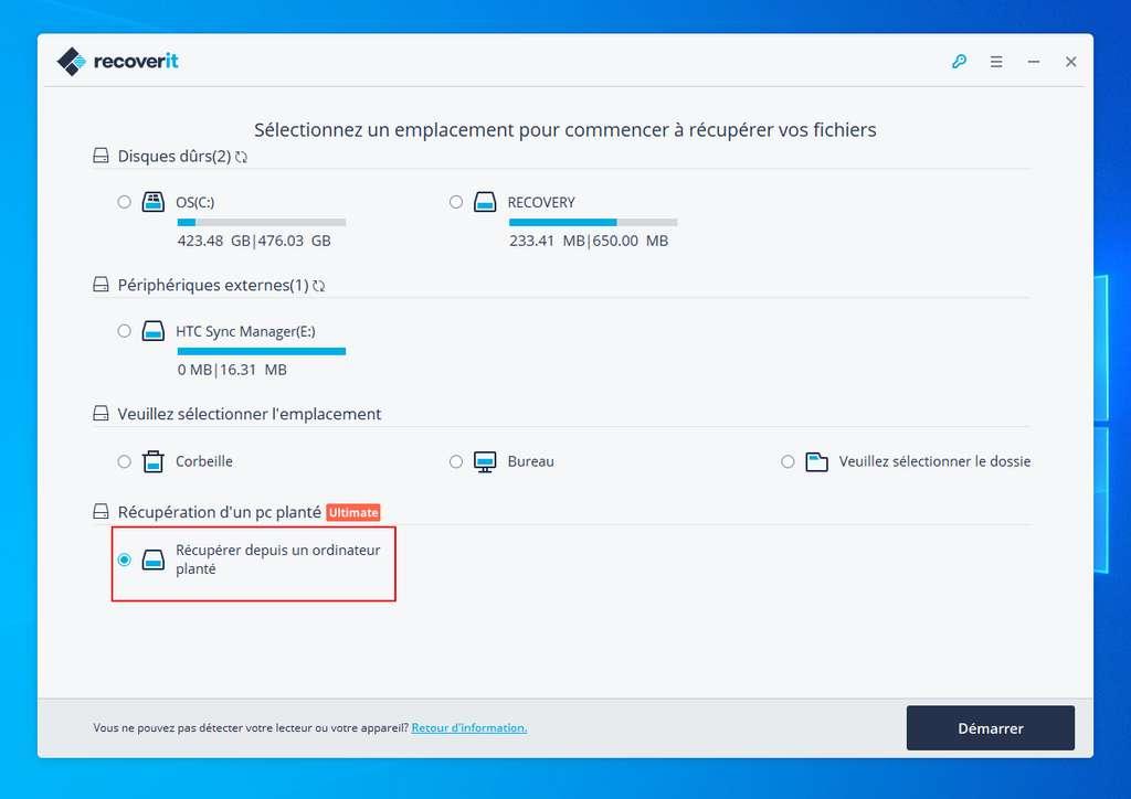 """L'option """"Récupérer un PC planté"""" permet de créer un média bootable. ©Wondershare"""