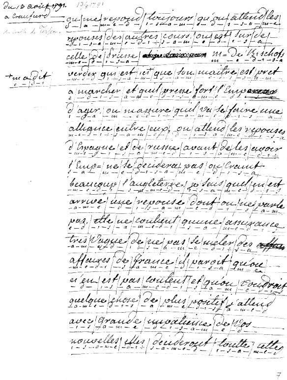 Travail de chiffrement d'une lettre au comte de Fersen où l'on voit que Marie-Antoinette ne chiffrait qu'une lettre sur deux. © Archives nationales