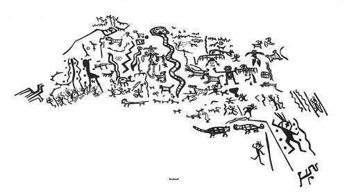 Figure 22 : pétroglyphes de style C, Toro Muerto (dép. d'Arequipa). © A. Nuñez Jimenez, reproduction et utilisation interdites