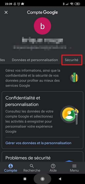 Allez dans les paramètres de sécurité de votre compte Google. © Google Inc.