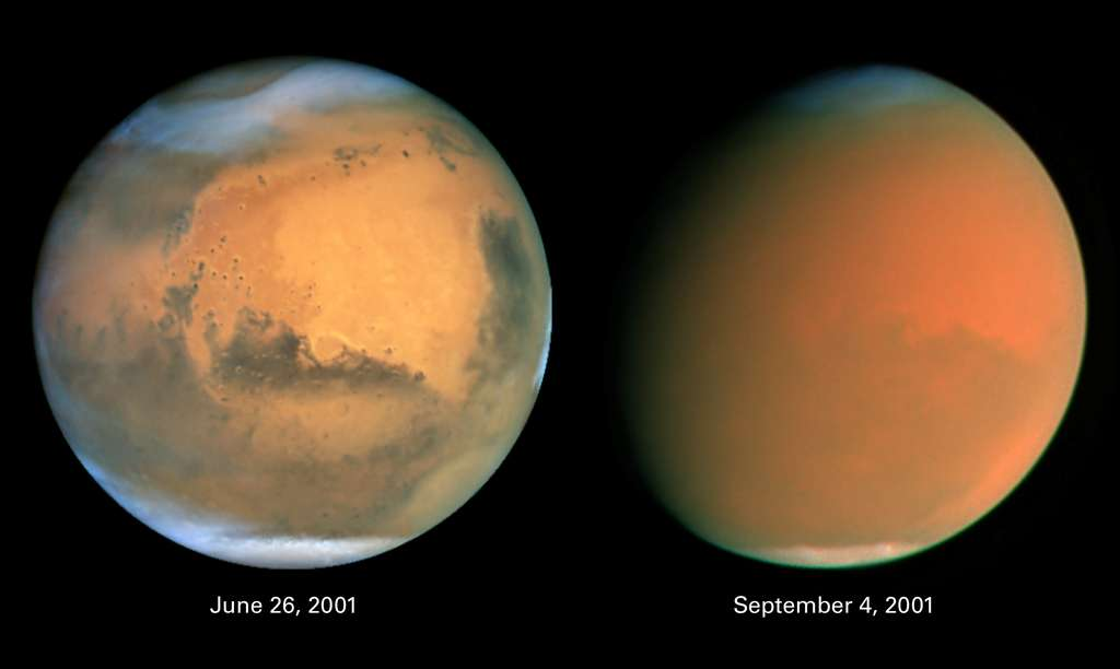 Deux photographies de Mars prises à trois mois d'écart. À droite, la planète est obscurcie par une gigantesque tempête de poussière. © Nasa
