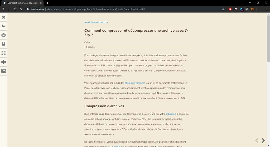 Visualisation d'un article sur Futura-Sciences avec Chrome et l'extension Reader View. © Google