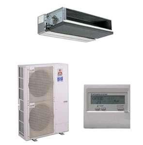 Pompe à chaleur air-air gainable triphasée. Puissance : 11 kW. Fonctionnement chaud : jusqu'à - 25 °C. Chaleur constante : jusqu'à - 15 °C. Fonctionnement froid : jusqu'à + 46 °C. Niveau sonore : 52-53 dB (A). Gaz réfrigérant R 410A. Ref. PUHZ HRP1125YHA (6.015 € HT unité ext. seule). © Mitsubishi
