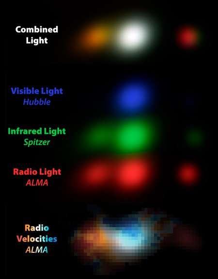 DC-818760, ensemble de trois galaxies probablement sur une trajectoire de collision. Comme toutes les galaxies du programme Alpine, il a été imagé par différents télescopes. Cette approche « multilongueurs d'onde » permet aux astronomes d'étudier en détail la structure de ces galaxies. Le télescope spatial Hubble, qui observe en lumière visible (représentée en bleu ici), révèle des régions de formation active d'étoiles non masquées par la poussière ; le télescope spatial Spitzer, qui observe en infrarouge (représenté en vert), montre l'emplacement d'étoiles plus anciennes qui sont utilisées pour mesurer la masse stellaire des galaxies ; et Alma, qui observe dans le domaine radio (représenté en rouge), trace le gaz et la poussière, ce qui permet de mesurer la formation d'étoiles cachée par la poussière. L'image du haut combine la lumière des trois télescopes. La carte des vitesses en bas montre le gaz dans les galaxies tournantes qui s'approche (en bleu) ou s'éloigne (en rouge) de nous. © Gareth Jones & Andreas Faisst (Alpine collaboration) ; Alma (ESO/NAOJ/NRAO); Nasa/STScI ; JPL-Caltech/IPAL'étude du programme AlpineAlpine utilise en particulier Alma pour observer la signature de l'ion C+, c'est-à-dire du carbone une fois ionisé, à une longueur d'onde de 158 micromètres, dans l'infrarouge lointain. En effet, lorsque la lumière ultraviolette des jeunes étoiles frappe des nuages de poussière, du C+ est produit. Lorsque les galaxies tournent sur elles-mêmes, les ions C+ présents dans le gaz de la galaxie tournent avec. En mesurant le décalage Doppler des raies d'émission de ces ions, il est alors possible de déterminer la rotation de ces galaxies. L'équipe du programme a ainsi étudié 118 galaxies lointaines, non seulement pour mesurer leur rotation, mais aussi pour en déterminer d'autres caractéristiques comme la densité de gaz et le nombre d'étoiles formées.Des disques en rotation lointainsLe relevé a permis de révéler des galaxies déformées en rotation en train de f