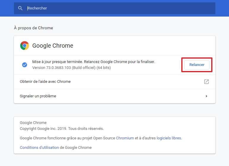 Cliquez sur « Relancer » pour installer la dernière version de Chrome. © Google Inc.