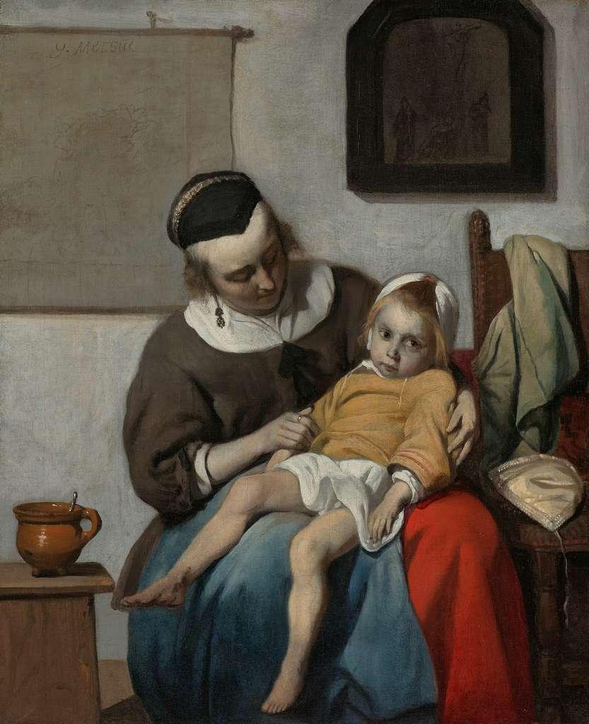 L'enfant malade par Gabriel Metsue vers 1665. Rijksmuseum, Amsterdam. © Wikimedia Commons, domaine public