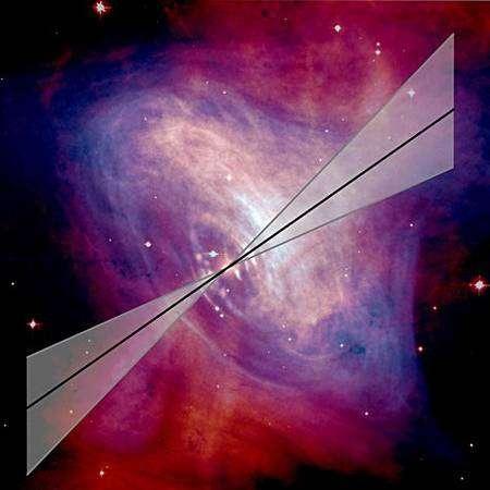 Schématisation de la source de rayonnement polarisée gamma obtenue sur base des données d'Integral. Crédit ESA-Integral Project
