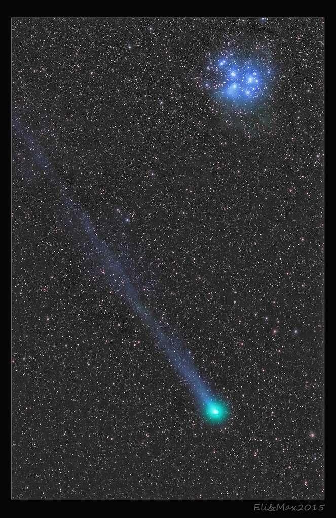 Le couple Eliza et Maximilien Teodorescu a réalisé cette image de la comète Lovejoy visitant les Pléiades, le 16 janvier 2015. © E. et M. Teodorescu