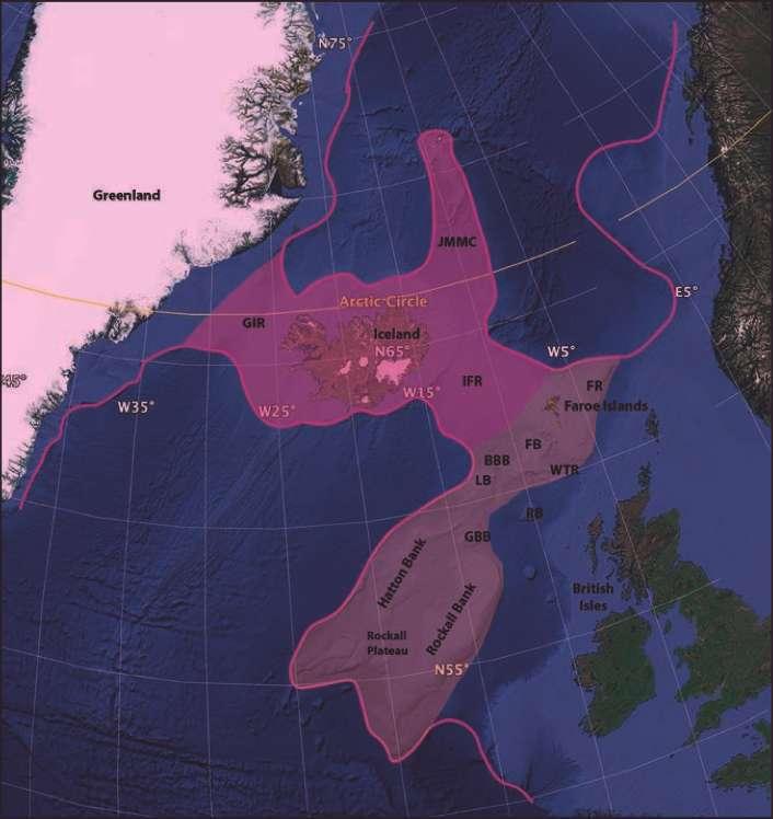 L'Icelandia s'étendrait sur 600.000 km2 (hypothèse basse, en rose foncé) à un million de km2 (hypothèse haute, en rose clair). © Geological Society of America