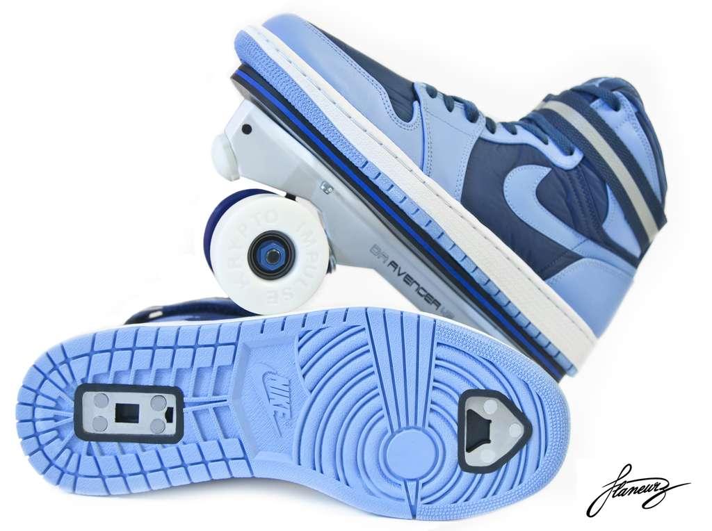 Des roulettes à fixer sur les semelles, et les chaussures deviennent patins. © Flaneurz