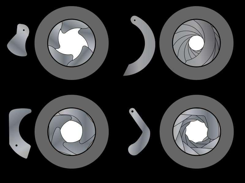 En photographie, le diaphragme à iris est composé d'une série de lamelles dont le nombre et la forme peuvent varier. Il permet de contrôler avec précision l'illumination du capteur et, indirectement, la profondeur de champ et donc la netteté de l'image. Problème, ce mécanisme est difficile à miniaturiser. Des chercheurs de l'université de Kaiserslautern ont créé un modèle électrochromique dans lequel un matériau s'opacifie à la demande. © Rheto, CC-BY-SA-3.0, 2.5, 2.0 ,1.0