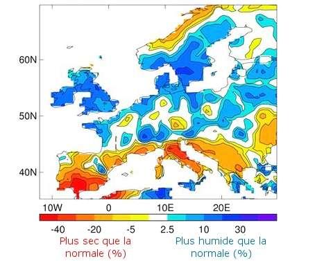 Modifications des précipitations lorsque l'Atlantique nord est en période « chaude ». Le point de référence correspond à la moyenne des précipitations observées entre 1909 et 2009. © adapté de University of Reading