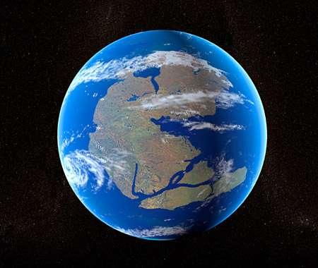 La Terre à la fin de l'ère primaire. La plupart des continents sont alors rassemblés en un seul supercontinent, la Pangée. © Christian Darkin, Science Photo Library