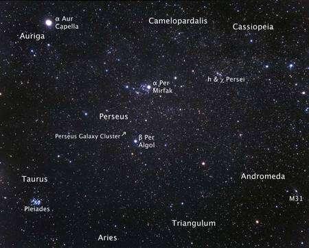 Cliquer pour agrandir. La localisation sur la voûte céleste de l'amas de galaxies de la constellation de Persée. Crédit : Nasa, Esa, A. Fujii (STScI)