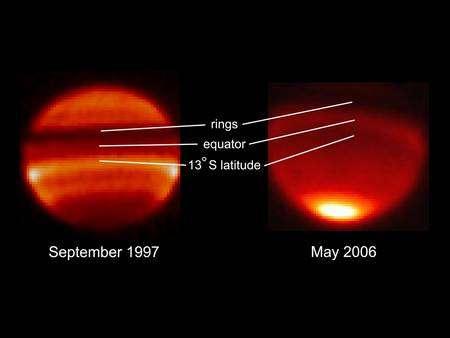 Figure 2 (cliquez pour agrandir). Les images montrent Saturne vue depuis la Terre avec des télescopes au sol. L'hémisphère sud est plus visible que le nord. Quant à la bande noire au-dessus de l'équateur, il s'agit des anneaux de Saturne (rings). Crédit : Nasa/JPL.