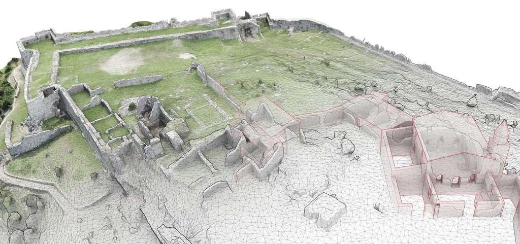 La forteresse de Lissos, en Albanie, qui fut grecque, byzantine puis ottomane. La modélisation numérique, effectuée avec un drone, permet plusieurs visualisations. On voit ici, de l'avant-plan à l'arrière-plan, le relevé topographique, puis le dessin des ruines et enfin les images. © Iconem