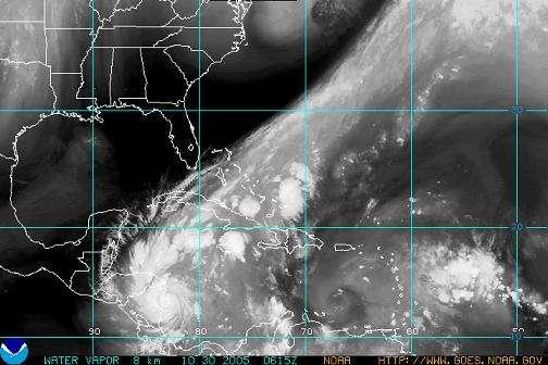 Image vapeur-d'eau du cyclone Beta prise le 31 Octobre (Courtesy of NOAA)
