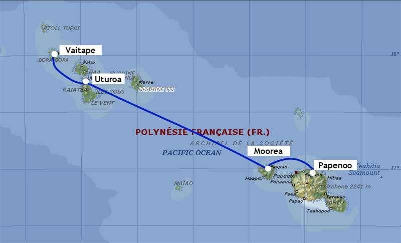Localement, Honotua relie l'île de Tahiti (en bas à droite) à Bora-Bora, en passant par Moorea, Huanine et Raiatea. © OPT