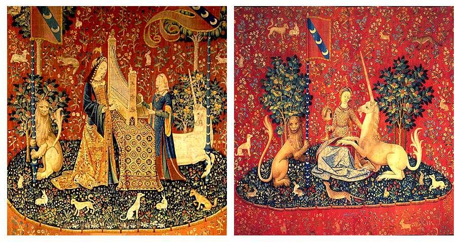 La Dame à la licorne. Ici, L'Ouïe (à gauche) et La Vue (à droite). © Evening.star, DP