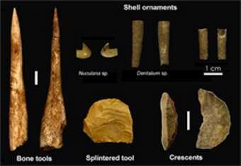 Artefacts uluzziens de la Grotta del Cavallo (Pouilles, sud de l'Italie). © Annamaria Ronchitelli et Dr. Katerina Douka
