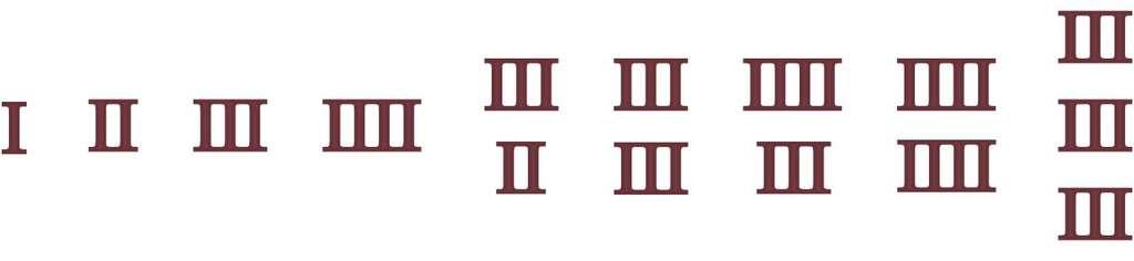 Arrangement des I en Égypte pour former les nombres de 1 à 9. © Hervé Lehning, tous droits réservés