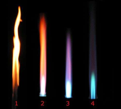 En chimie, les becs Bunsen sont souvent utiles. Sur l'image, différents types de flammes d'un bec Bunsen en fonction du flux d'air dans le conduit : 1 - virole fermée ; 2 - virole mi-ouvert ; 3 - virole presque entièrement ouverte ; 4 - virole entièrement ouverte. © Arthur Jan Fijalkowski, CC by-sa 3.0