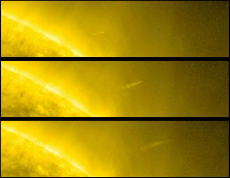 Cette série de 3 images montre la sortie de la comète C/2011 W3 après son passage derrière le Soleil et les brutales modifications d'aspect de sa queue. © Nasa/SDO