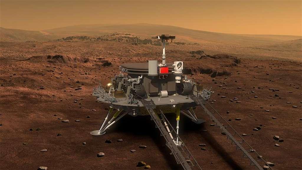 Concepts chinois d'un atterrisseur et d'un rover martiens. © Académie chinoise des sciences
