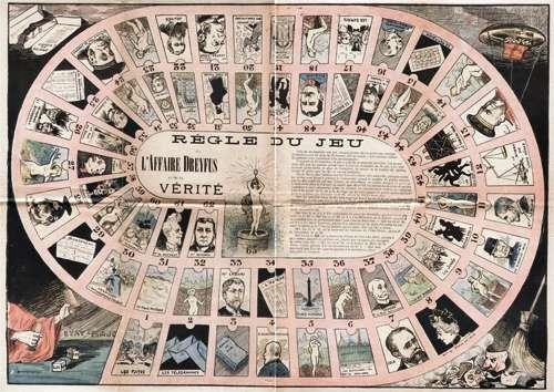 Ce « Jeu de l'affaire Dreyfus et de la vérité » (version française du jeu de l'oie de l'année 1898) caricature et illustre le climat de tensions qui a ébranlé la IIIe République pendant douze ans. © Source Assemblée nationale, Wikimedia Commons, DP