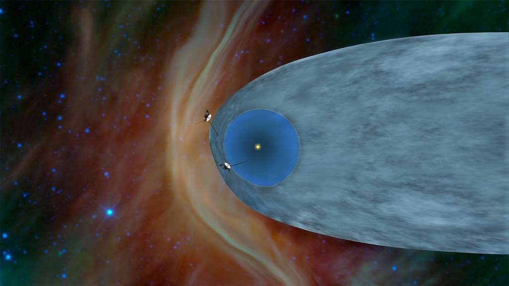 Voyager 1 (en attendant Voyager 2) a dépassé l'héliosphère créée par le vent solaire et navigue désormais dans le milieu interstellaire. © Nasa