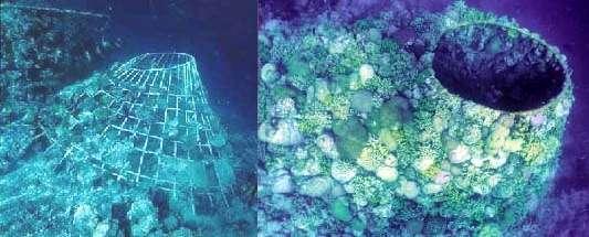 Comparaison d'une structure métallique parcourue par un courant selon le procédé Biorock un an après son installation (à gauche) et deux ans plus tard (à droite). Cette installation se trouve aux Maldives. © Biorock.net