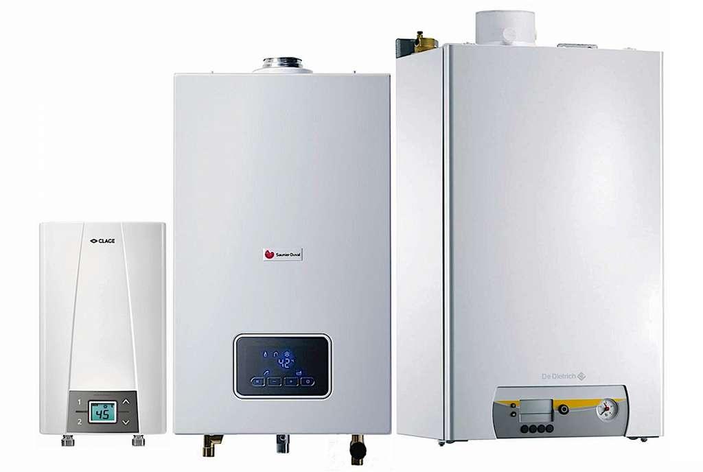 Eau chaude instantanée, de gauche à droite : chauffe-eau électrique Clage « CEX 9 », débit de 2,9 à 3,8 l/mn, puissance de 6,6 à 8,8 kW ; chauffe-eau gaz Saunier Duval « Opalia », 15 l/mn, 29 kW ; chaudière gaz à condensation De Dietrich « Vivadens MCR » de 27,4 à 38,2 kW en ECS. © Clage ; Saunier Duval ; De dietrich