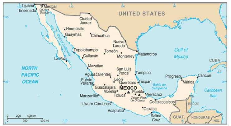 Carte du Mexique. La capitale, Mexico, passage obligé d'un voyage au Mexique, est installée à plus de 2.000 mètres d'altitude, ce qui explique des températures moyennes qui restent sous les 20 °C. © DR