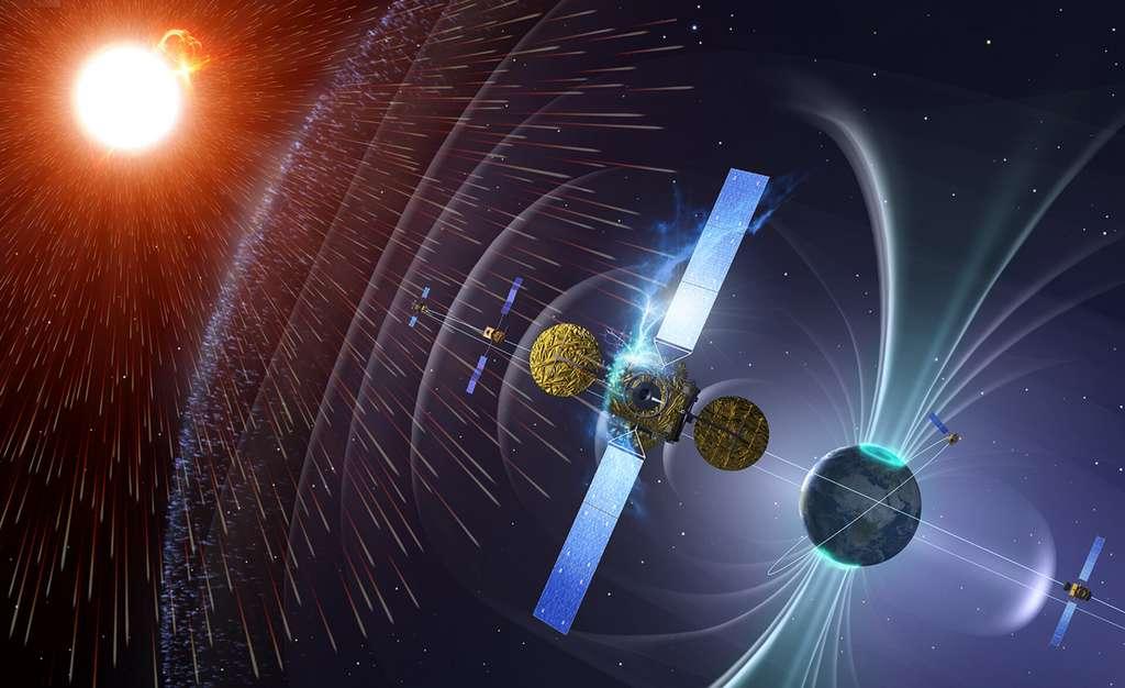 Représentation des rayonnements émis par le Soleil, la Terre formant un vrai bouclier à droite de l'image. © ESA