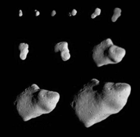 Cliquez pour agrandir. Série d'images de 951 Gaspra prises sur une période d'environ 5 heures par Galileo lors de son survol de cet astéroïde.